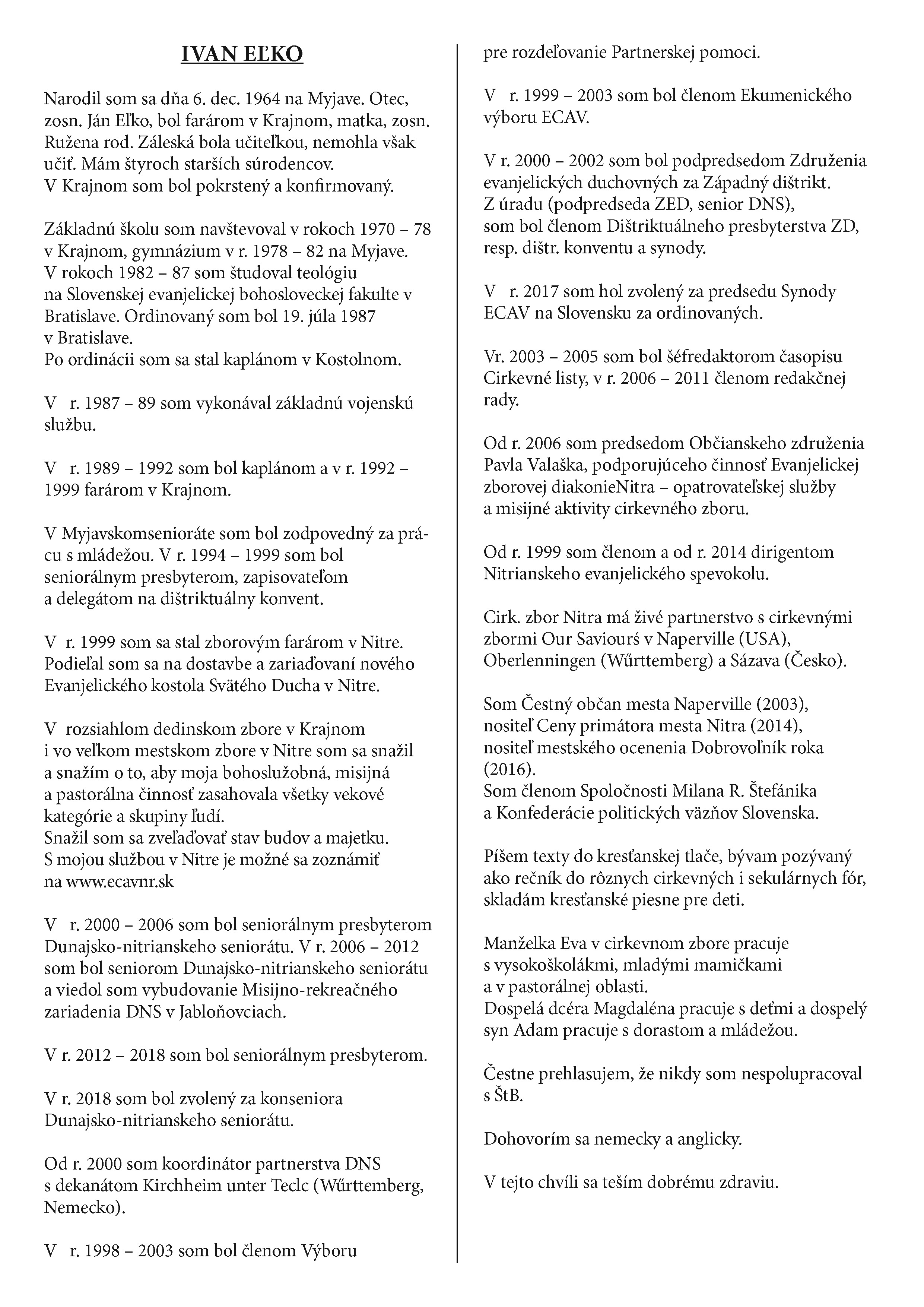 Zivotopisy Biskupov Eľko Kanuch 2018 Page 1 Povazska Bystrica