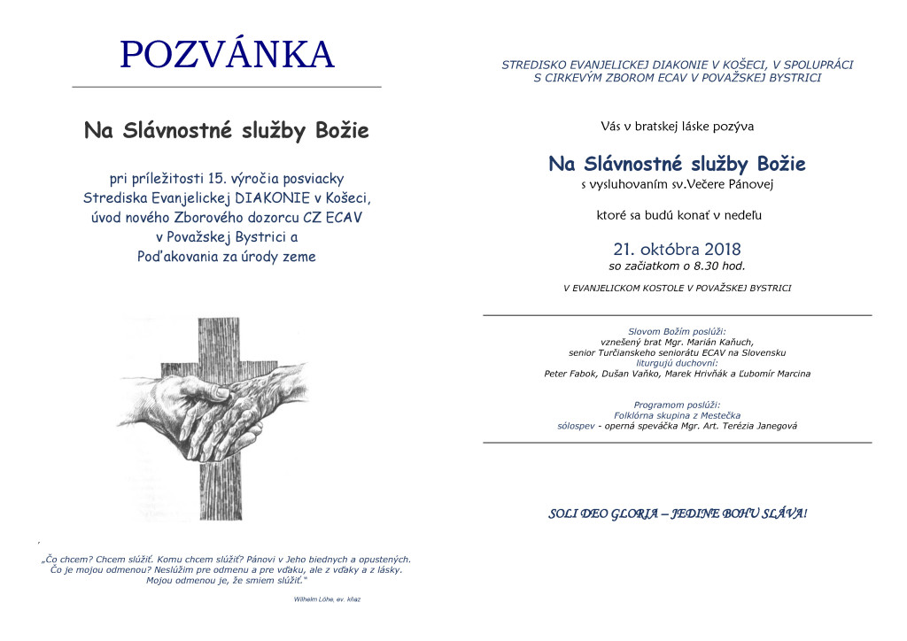 Pozvanka diakonia 21. 10