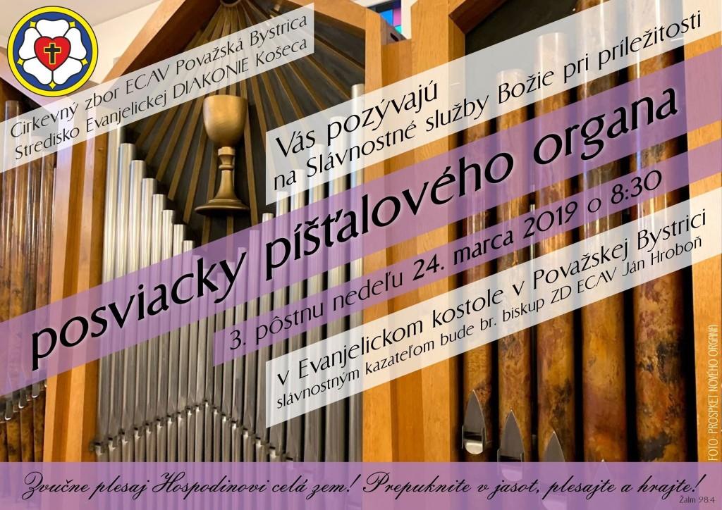 plagát pozvánka Považská Bystrica organ 24 marec 2019
